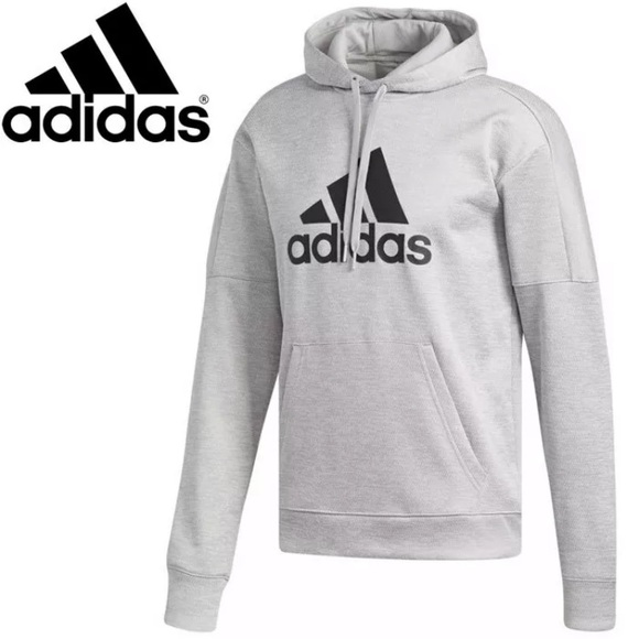 Men's Adidas Gray Team Issue Badge Sport Hoodie NWT